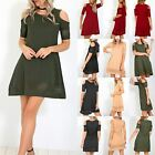 Ladies Womens Cold Shoulder Smock Laser Cut Short Sleeve Swing Skater Mini Dress