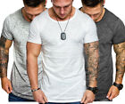 Men Slim Fit Short Sleeve Shirts Blouse Fitness Muscle Tops Solid Casual T-shirt