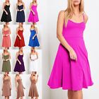 Ladies Womens Flare Cami Strappy Sleeveless Padded Swing Skater Mini Dress Top