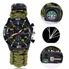 US Outdoors Survival Watch Paracord Compass Thermometer Flint Whistle Watch Gift