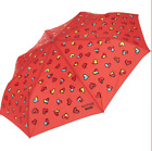 MOSCHINO Automatic Umbrella 99% UV Protection Love Hearts Black Blue or Coral