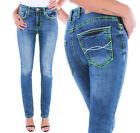 Damen High Waist Stretch Jeans Hose Straight Fit Damenjeans Dicke Naht ★ D4-6