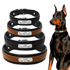 Black Personalized Dog Collars Genuine Leather Soft Padded Large Dogs Collar