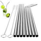 8 Pcs Stainless Steel Drinking Straw Reusable Long Metal Straws + Cleaner Brush