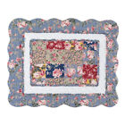 Beautiful Melanie Floral Patchwork Quilt, Light Blue, Burgundy, Green image