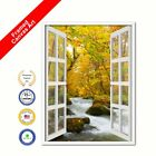 Autumn River Picture French Window Black Framed Canvas Print Home Decor Wall Art