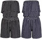 Women's Ladies Polka Dot Frill Bandeau Short Playsuit ladies play suit SIZE 8-24