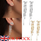 Uk Shooting Crystal Bling Star Rhinestone Long Tassels Drop Hook Dangle Earrings