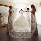 Bling Crystal Beads Bridal Wedding Veils Cathedral Chapel Length Lace Edge Comb