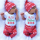 Canis Newborn Baby Boys Girl My 1st Christmas Clothes Romper Pants Hat Outfits