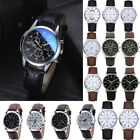 Mens Stainless Steel Leather Strap Watch Military Formal Dress Wrist Watches VS image