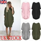 Uk Women's Italian Lagenlook Boho Jersey Cotton Stretch Pocket Tunic Dress 8-22