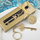 40-144  Key To My Heart Gold Metal Key Chain - Wedding Party Favors