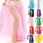 Women Gypsy Skirt Belly Dance Ruffle Flamenco Jupe Side Slit Ladies Chiffon Sexy