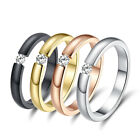 Fashion Women Men Stainless Steel Crystal Cz Wedding Band Ring Jewelry Size 5-10