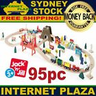 Kids Wooden Train Set 95 Pieces Railway Track Toy Compatible with leading Brands