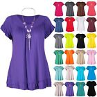 Womens Ladies Peplum Ruffle Frill Short Sleeve With Necklace Gypsy T Shirt Top