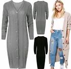 Ladies Cable Knitted Pocket Long Sleeves Cardigan Womens Button Long Cardigan