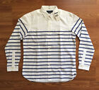 $80 NWT POLO RALPH LAUREN Mens White Blue Stripe Shirt Button Down Cotton S L XL