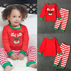 US Xmas 2pcs Newborn Toddler Baby Boy Girl Kid Clothes Elk Tops+Pant Outfits Set