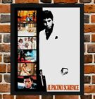 Framed Scarface Al Pacino Movie Film Poster A4 / A3 Size In Black / White Frame.