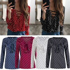 US Women's Polka Dot Pattern Long Sleeve V Neck Loose Blouse