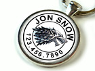 Game of Thrones Stark Wolf WHITE Custom single side Pet ID C