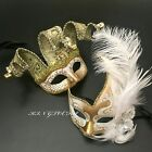 Couple White/Gold Jolly Jester / With Feather Venetian Ball Wedding Party Mask
