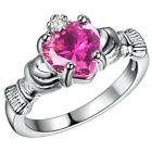 Claddagh 1ct White Fire Opal 925 Silver Irish Ring Wedding Engagement Size 6-9