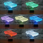 LED Night Light Car 3D Illusion Optical 7 Color Change Desk Lamp Xmas Decor Gift