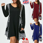Uk Plus Size Womens Stripe Splicing Mini Dress Long Sleeve Ladies Casual Dresses