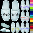 WHITE WEDDING SLIPPERS PERSONALISED PRINT NOVELTY BRIDAL PARTY SPA CLOSED TOE T