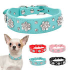 Dog Collar Diamante Leather Pet Puppy Necklace Bling Crystal Studded Cat Collars