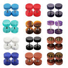 Illusion Ear Tunnel Plugs Cheater Gauges Screwed Ear Barbell Earrings 8mm/10mm