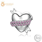 Pink Crystal Scroll  Love Heart Charm 925 Silver For Bracelet Valentines Day