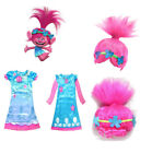 For Girls Kids Trolls Poppy Princess Dress Cosplay Costumes Halloween Party Prop