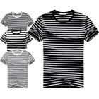 Men Short Sleeve Pullover Black White Striped Graphic Casual Round Neck T-Shirt