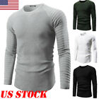 US Men Casual Slim Fit O-neck Knitted Cardigan Pullover Jumper Sweater Tops