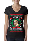 Merry Chrithmith Mike Tyson Funny Ugly Christmas Ladies Junior Fit Vneck Tshirt