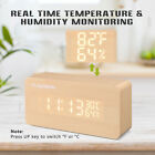 Digital LED Cube Wooden Alarm Clock USB/AAA Desk Calendar Thermometer Humidity