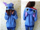 Disney Kigurumi Lilo & Stitch blue Angel hoodie cosplay coat jacket New