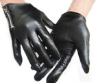 men side zipper wrist length best Italy leather motor gloves black