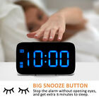 US Digital LED Alarm Clock Big Screen Snooze USB/Battery Powered Voice Control
