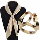 Fashion Rose Gold - Silver Plated Trio Scarf Ring Silk Scarf  Slide Buckle  image