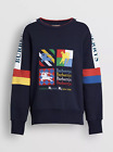 Burberry Color Block Blue Men's Sweatshirt with Embroidery Size S/M/L/XL