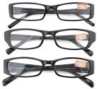 Black Reading Glasses - 3 Pack with Soft Carrying Case - Unisex Adult