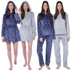 Women's Angel Star Print Nightwear Ladies Winter Soft Coral Fleece Loungewear