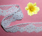"""Lace Trim White Bridal 1-1/4"""" Corded Re-embroidered R104AV Added Trims ShipFree"""