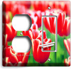FLORAL RED WILD HOLLAND TULIPS FLOWERS LIGHT SWITCH OUTLET WALL PLATE ROOM DECOR