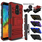 For LG Q7 /Q7 Plus/ Alpha Hybrid Shockproof Clip Hard TPU Stand Phone Case Cover